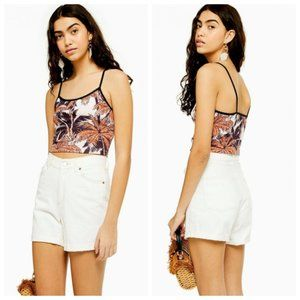 Topshop Palm Print Camisole in Pink Multi